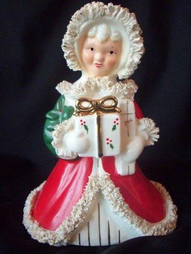 Mint Vintage Relpo Shopper Girl Lady Christmas Santa Holiday Figurine Planter