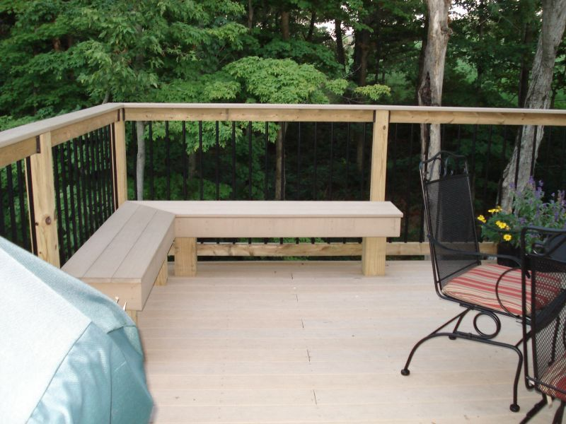 Corner Deck Bench for outdoor seating cheaper then buying a set