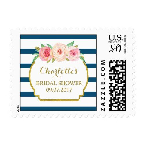 blue stripes pink floral bridal shower stamps