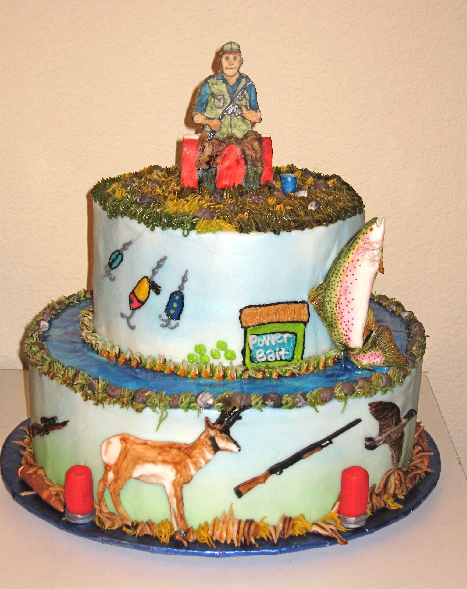 Fishing hunting cake creative cakes pinterest fish creative huntin and fishin man birthday cake ki might be swayed from his angry birds birthday theme for this publicscrutiny Choice Image