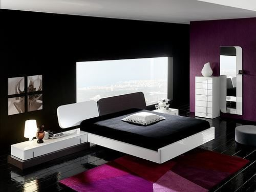 Black Purple Minimalist Bedroom Interior Design Purple Bedroom Design Purple Bedrooms Modern Bedroom Furniture