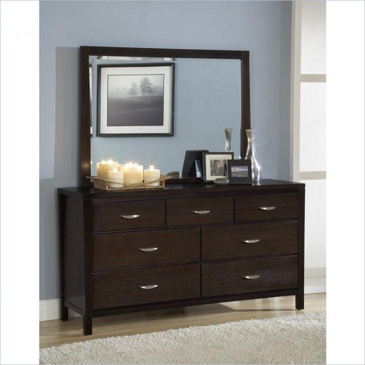 Overawe Dark Wood Dresser And Mirror With Seven Drawer