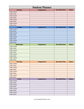 classes are colored coded and sorted by day of the week in this free