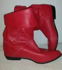 VTG 1980s Glove Leather RED Punk Rocker Boots Womens