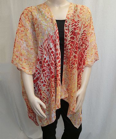Love this Gold & Orange Leaves Kimono - Plus on #zulily! #zulilyfinds