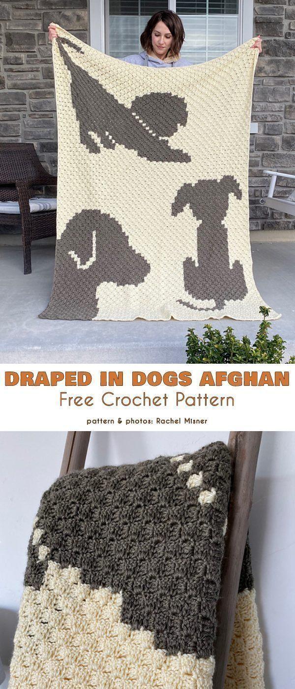 Photo of Drapped in Dogs Afghan Free Crochet Pattern Einfache und schnelle C2C-Decken mit…