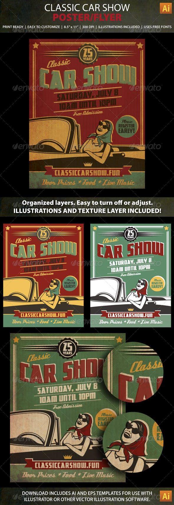 Classic Car Show Event Poster / Flyer — Vector EPS #car club #car