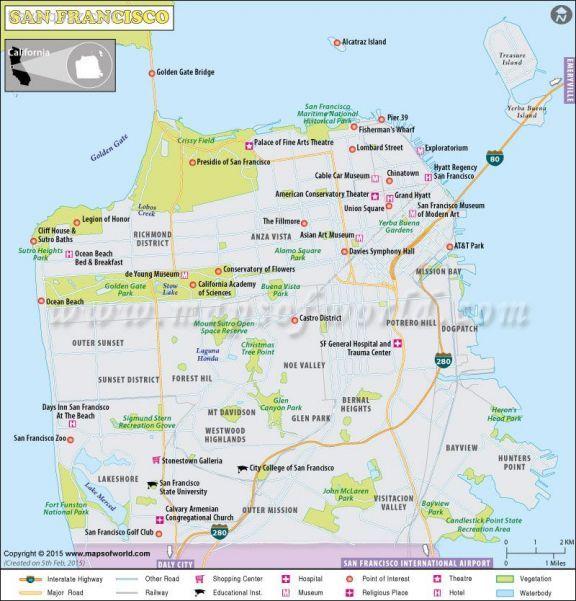 awesome San Francisco Map Travelquaz Pinterest San francisco
