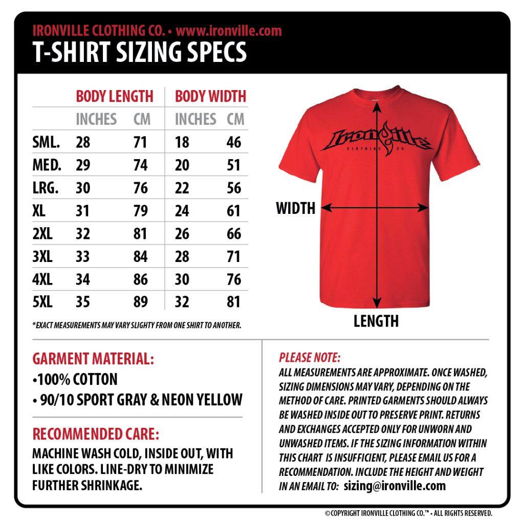 Ironville size charts clothing size chart powerlifting