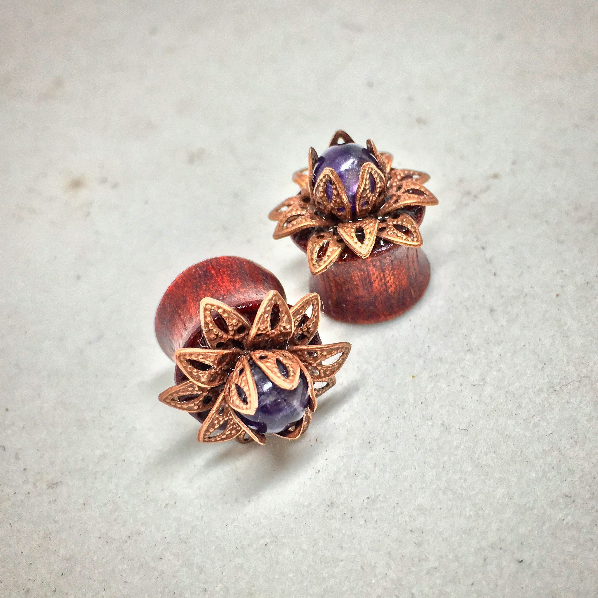 Bloodwood lotus flower plugs with amethyst stone for stretched ears bloodwood lotus flower plugs with amethyst stone for stretched ears sizes 00g10mm through 916 inch 14mm wooden plug gauges mightylinksfo