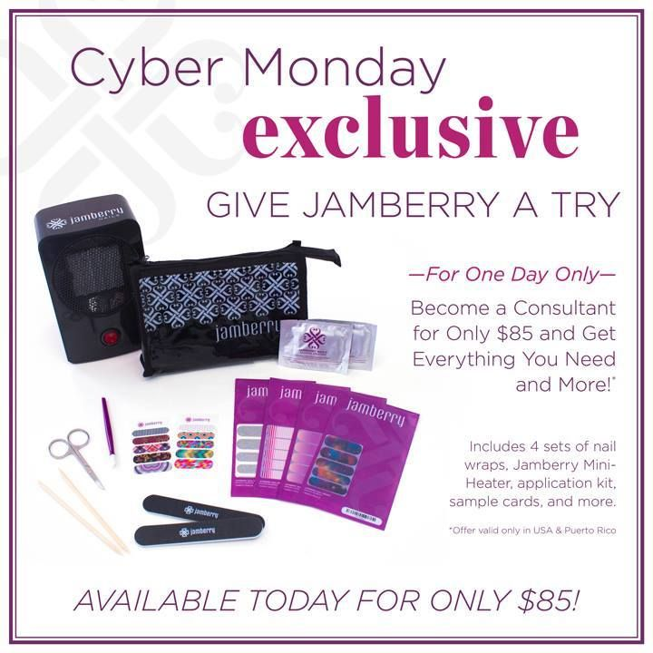 Some have asked the price to join our team, well here's the Cyber Monday Deal for tomorrow, Dec. 2nd! This is a huge discount, join my team today, this is a small investment, that comes with great reward$! Visit http://nailsbymekeyc.jamberrynails.net or temekacobbs@yahoo.com for more details!