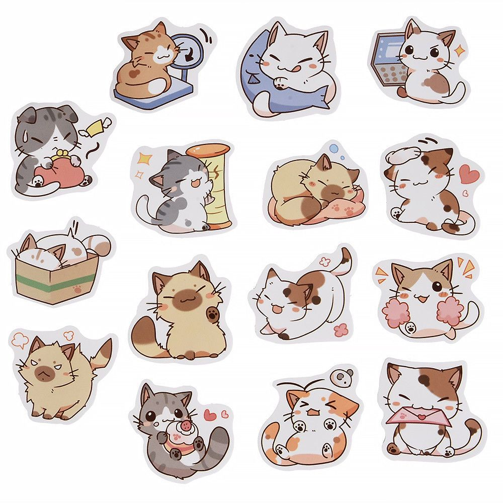 45PCS Kawaii Japanese Cat Stickers Diary Decoration DIY