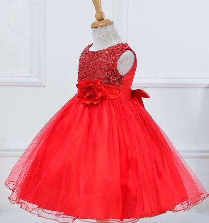 Vestido Rojo Con Lentejuelas De Las Niñas Niñas Por