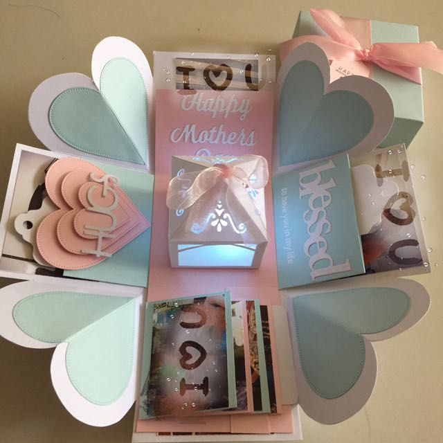 """Buy Happy Mothers Day Explosion Box With Lighthouse, 4 Waterfall In Pastel Color in Singapore,Singapore. ----------- Info ------------- Size: 4x4"""" Explosion box card with - 2 layers - 4 customized photos at the base layer - a 3D lighthouse in the center with bat Chat to Buy"""