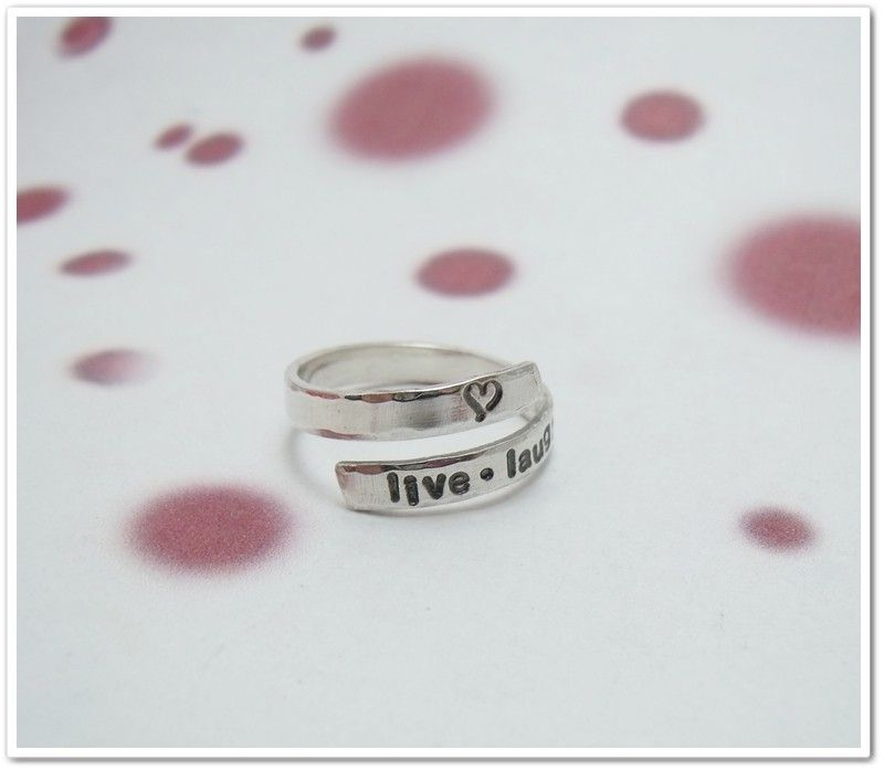 Sterling Silver Personalized Wrap Ring - Hand Stamped. $32.95, via Etsy.