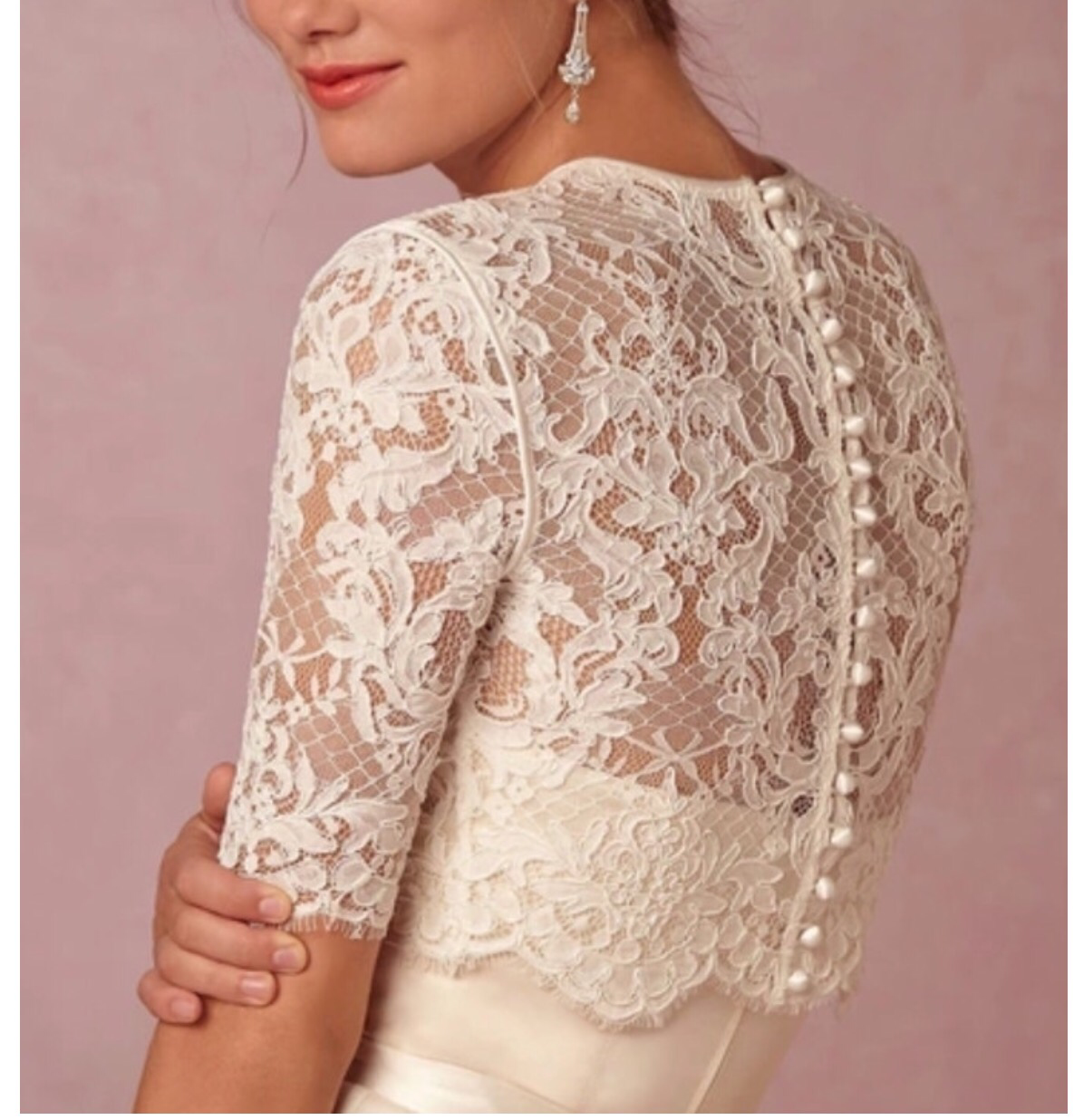 Bring drama and romance to the forefront with this long-sleeved lace topper. 3/4 sleeves (sleeves longer than showing in picture, it covers the elbows)