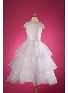 Latest Design A-Line Tiered Flower Girl Dress EF94011