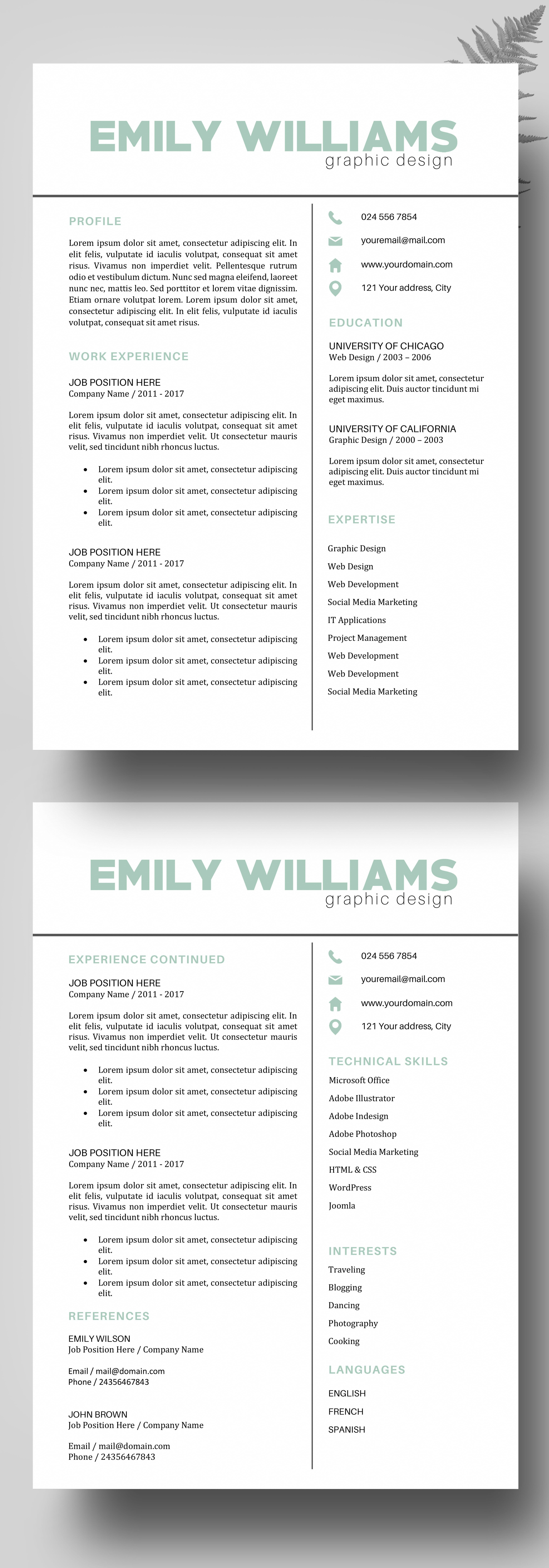 Creative Color Resume, Resume Template Instant Download