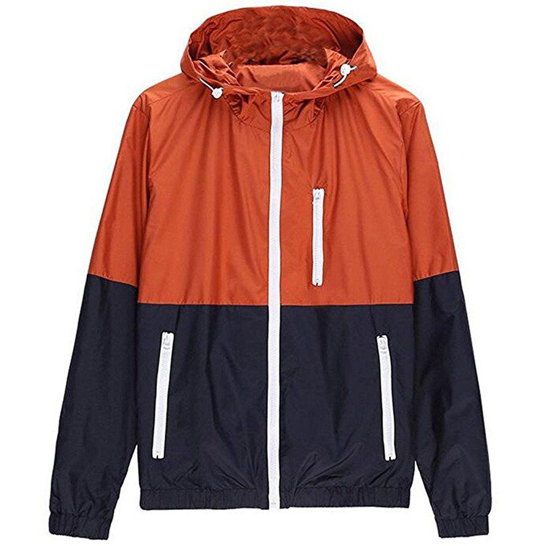 Men S Spring Casual Light Jacket With Hood Fba Orange M C217z30mx64 Mens Jackets Casual Lightweight Bomber Jacket Mens Jackets [ 1500 x 1500 Pixel ]