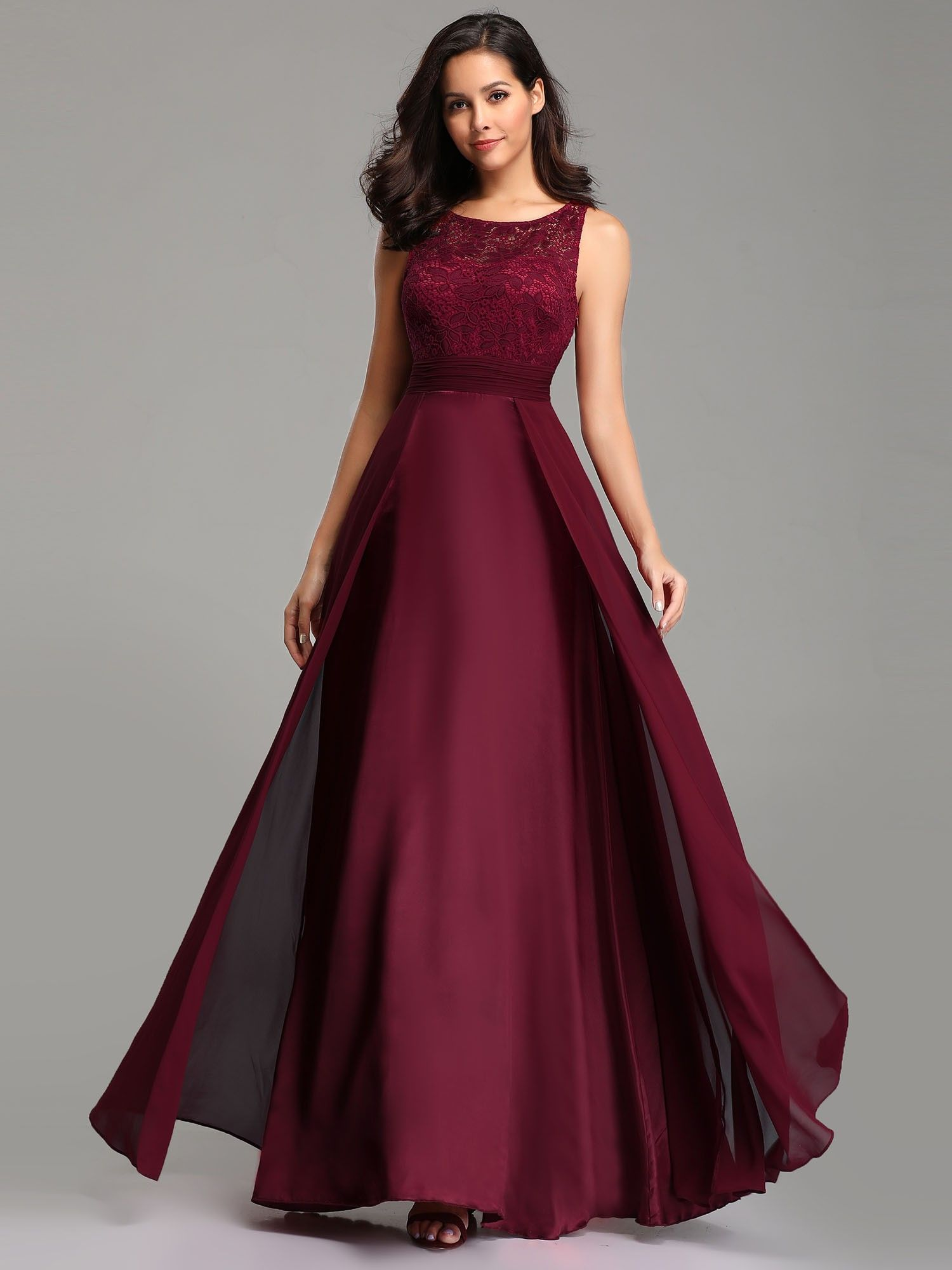 US Ever-Pretty Long Burgundy Lace O neck Illusion Formal Dress Prom Dress Gowns