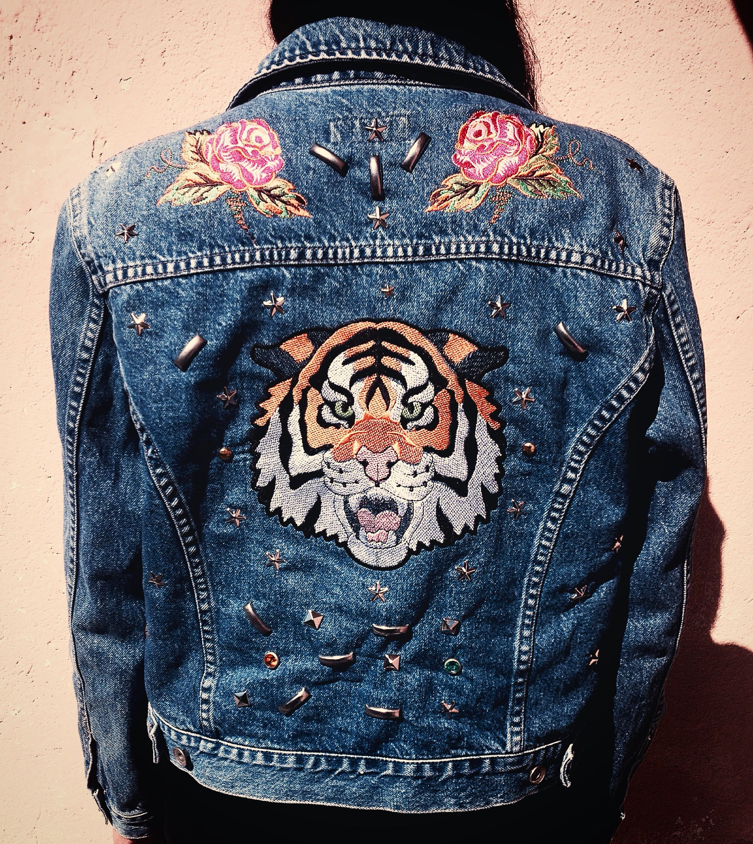 2d5516e3cbb7 Denim jacket dye studded tiger roses flowers embroidery patches Gucci idea  fall