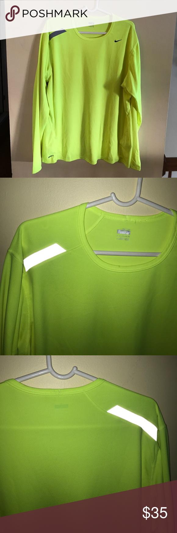 409a4aac4 Nike hi vis running shirt Drifit material long sleeved. High visibility  yellow . Can be worn as a base layer. NWOT Nike Shirts Tees - Long Sleeve