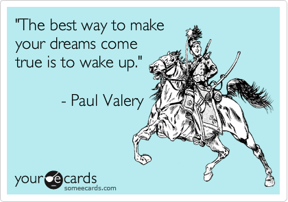 'The best way to make your dreams come true is to wake up.' - Paul Valery.