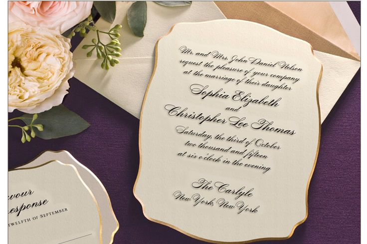 William Arthur Gold Engraved Wedding Invitation Wedding