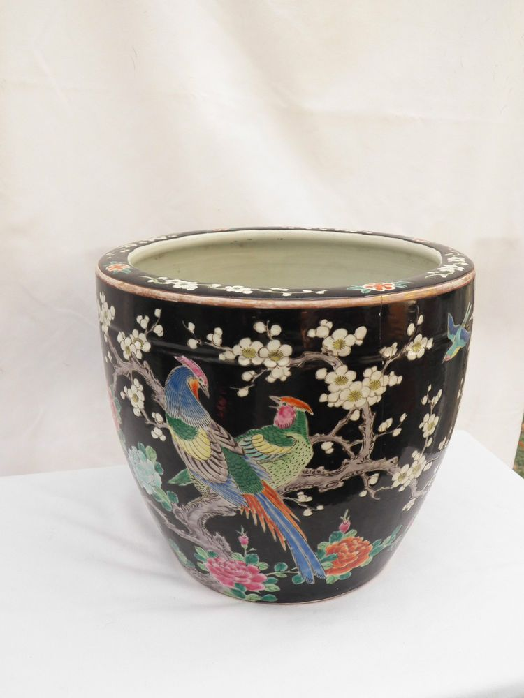 Large Old Chinese Famille Noire Hand Painted Porcelain