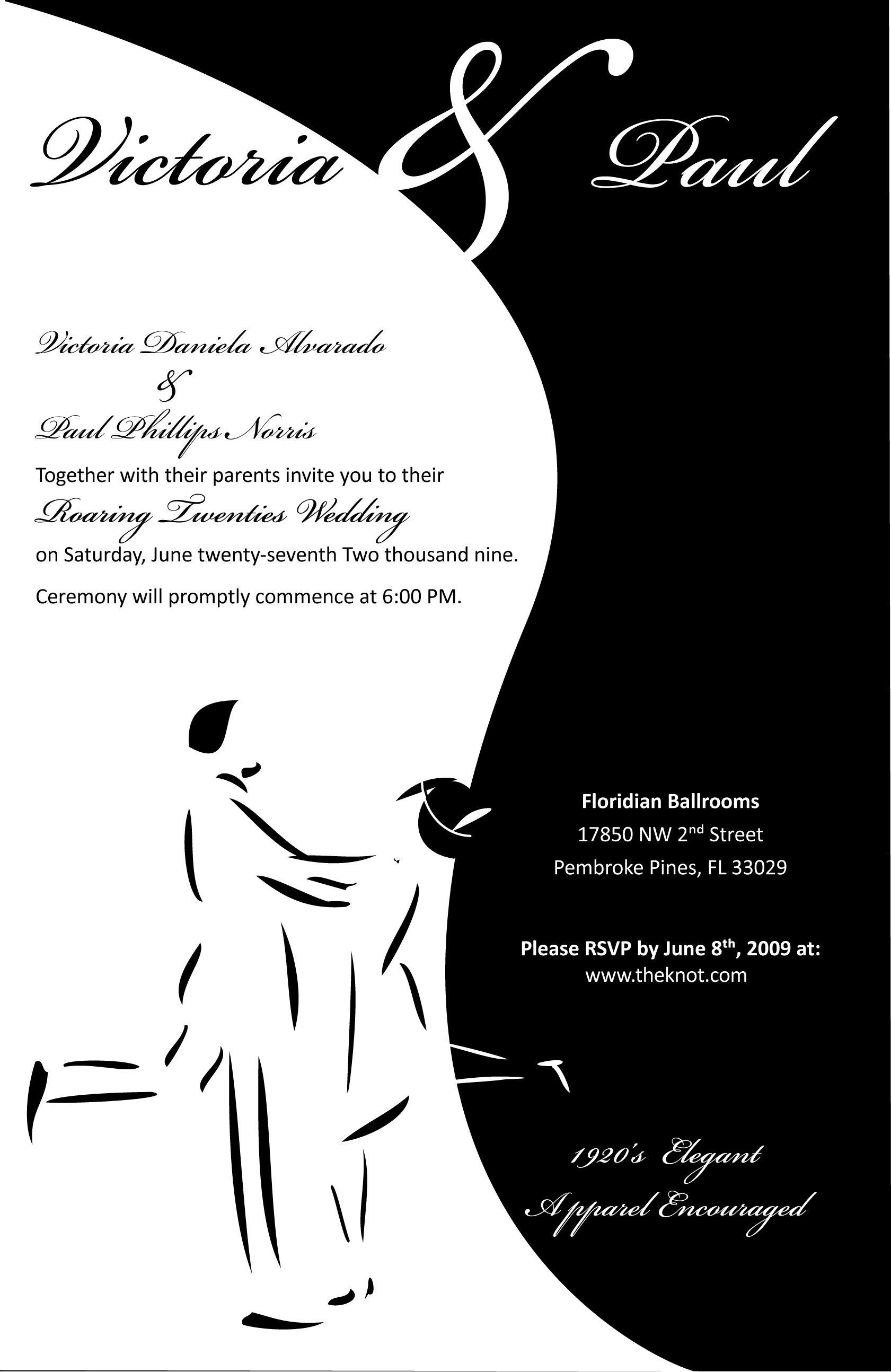 1920\'s themed wedding invitation | Custom Invitations | Pinterest ...