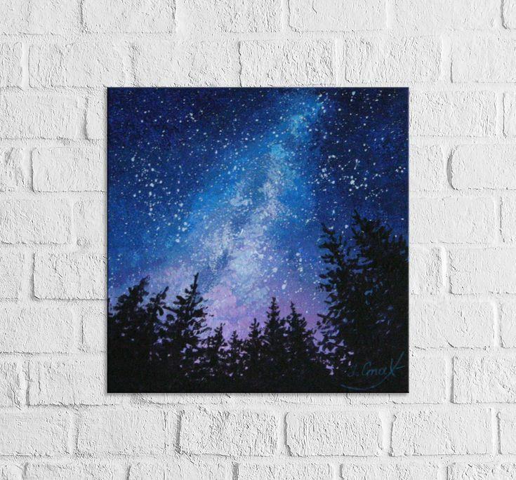 Sternenklarer Himmel, der Milchstraße-Kunst-Malerei malt  #himmel #kunst #malerei #milchstra #paintingartideas #sternenklarer #leinwandideen