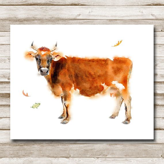 Cow Farmhouse Printable 5x7 8x10 11x14 16x20 Farmhouse Print Home Decor Watercolor Cow Printable Art Country Wall Art Jersey Cow Print With Images Baby Animal Art Watercolor Wall Art Cow Print