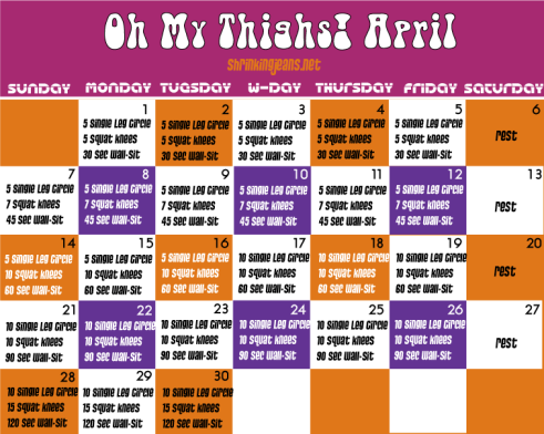 Oh My Thighs! A free monthly fitness calendar to give you extraordinary thighs, oh my! #workout #fitness