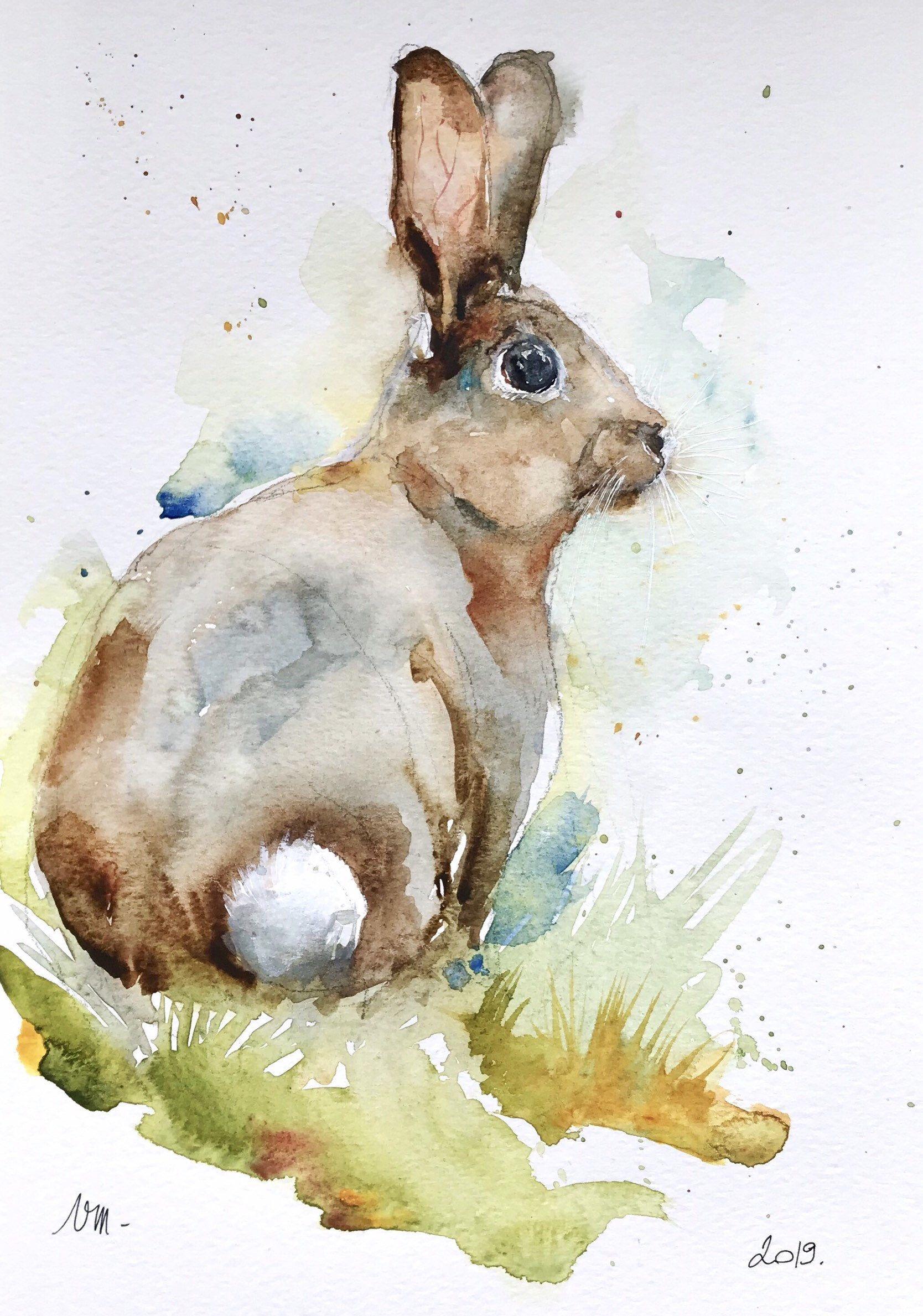Bunny Cute Rabbit Original Watercolor Painting Wall Art By Artiart