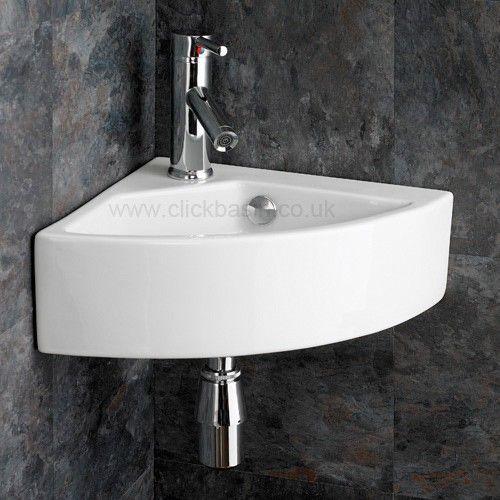 Elliott Medium Sized Ceramic Wall Mounted 35 5cm Corner Hand Basin 89 00 With Images Corner Basin Corner Sink Wash Basin