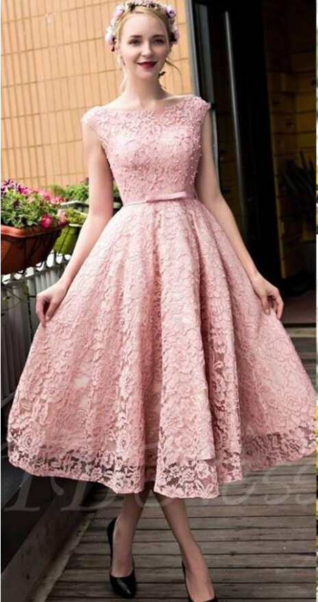 New Blush Pink Elegant Tea Length Full Lace | Amazing prom dresses ...
