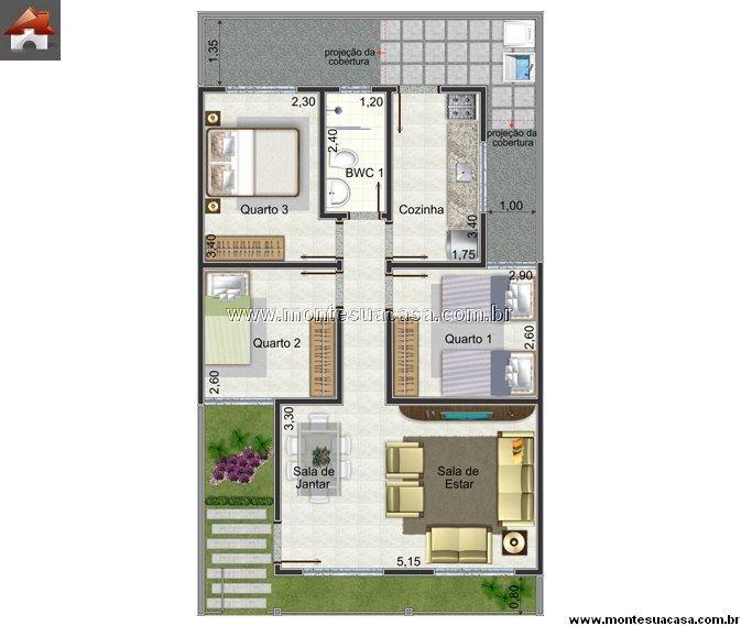 Plantas de casas at 60m2 3 modelos projetos de casas for Diseno de apartamento de 60m2