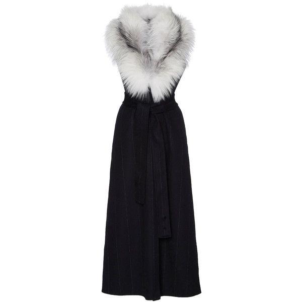 J. Mendel Pinstripe Zibeline Fox Shawl Long Vest featuring polyvore, women's fashion, clothing, outerwear, vests, fox shawl, long waistcoat, fur trimmed shawl, wrap shawl and long fur vest