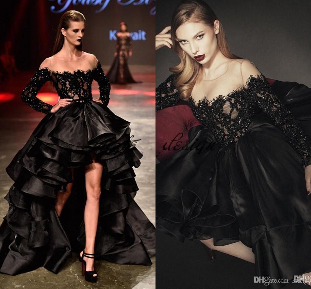 Yousef al jasmi beaded lace layered skirts evening dresses sheer