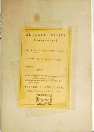 The Collected Poems Of Frank Ohara Advance Proofs The