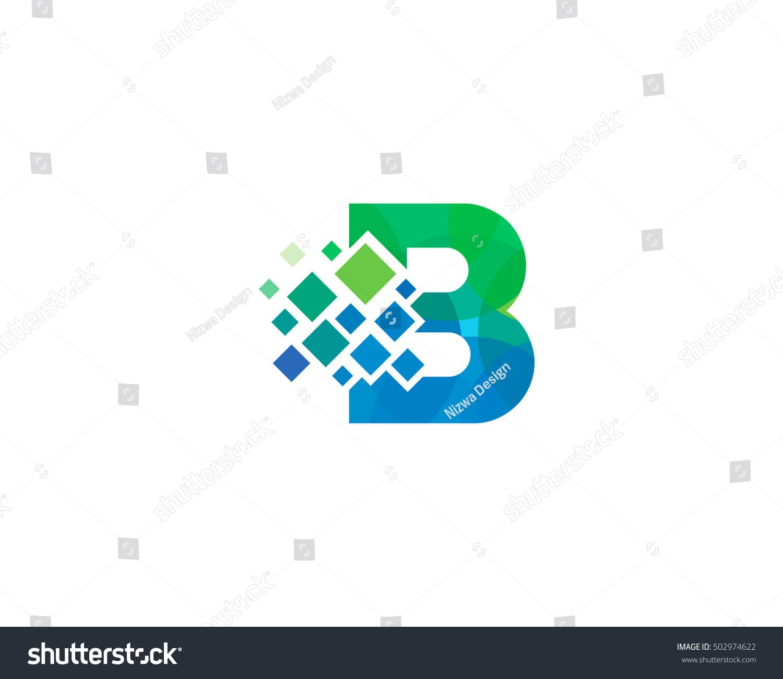 b letter pixel multiply colorful logo design template