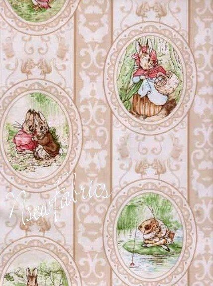 Beatrix potter fabric peter rabbit victorian cameos on tan - Peter rabbit nursery border ...