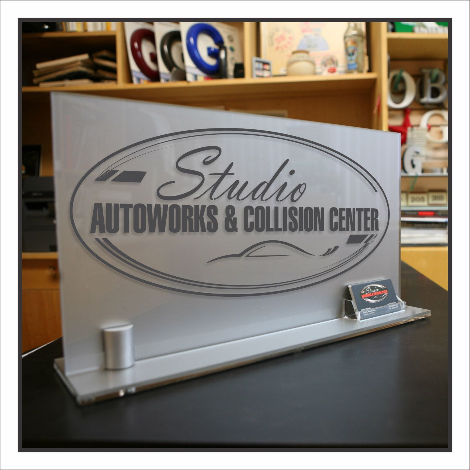 personalized office front desk logo or message sign modern look