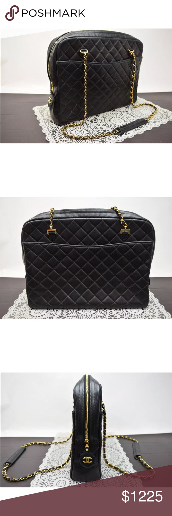 0e614ae51fa5 Authentic CHANEL quilted Lambskin tote Vintage Double Chain Quilted black  Lambskin Shoulder Bag made in France