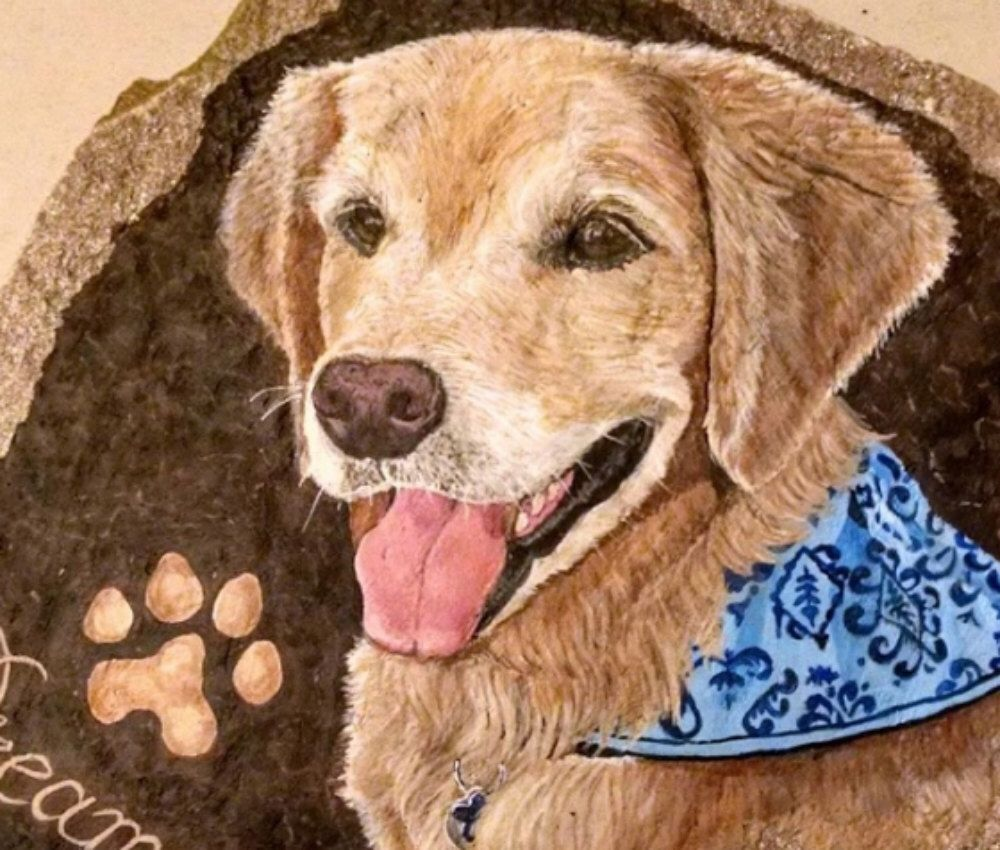 Black Lab Labrador Art Hand Painted Pet Memorial by CobbledArt