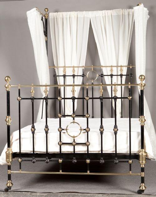 Beautiful Victorian Brass And Iron Half Tester Bed 1880 Home Bedroom Bed Iron Bed
