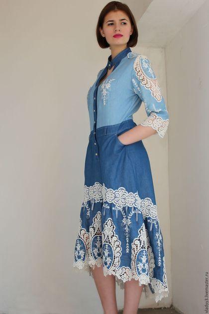 c33f96fc4ba Платья ручной работы. Ярмарка Мастеров - ручная работа. Купить платье из  джинсовой ткани с