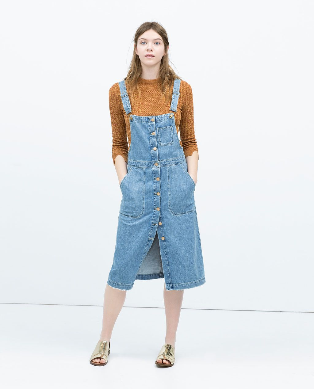 f2f7e3715f5 DENIM BIB-FRONT DUNGAREE DRESS-Midi-Dresses-WOMAN | ZARA United ...