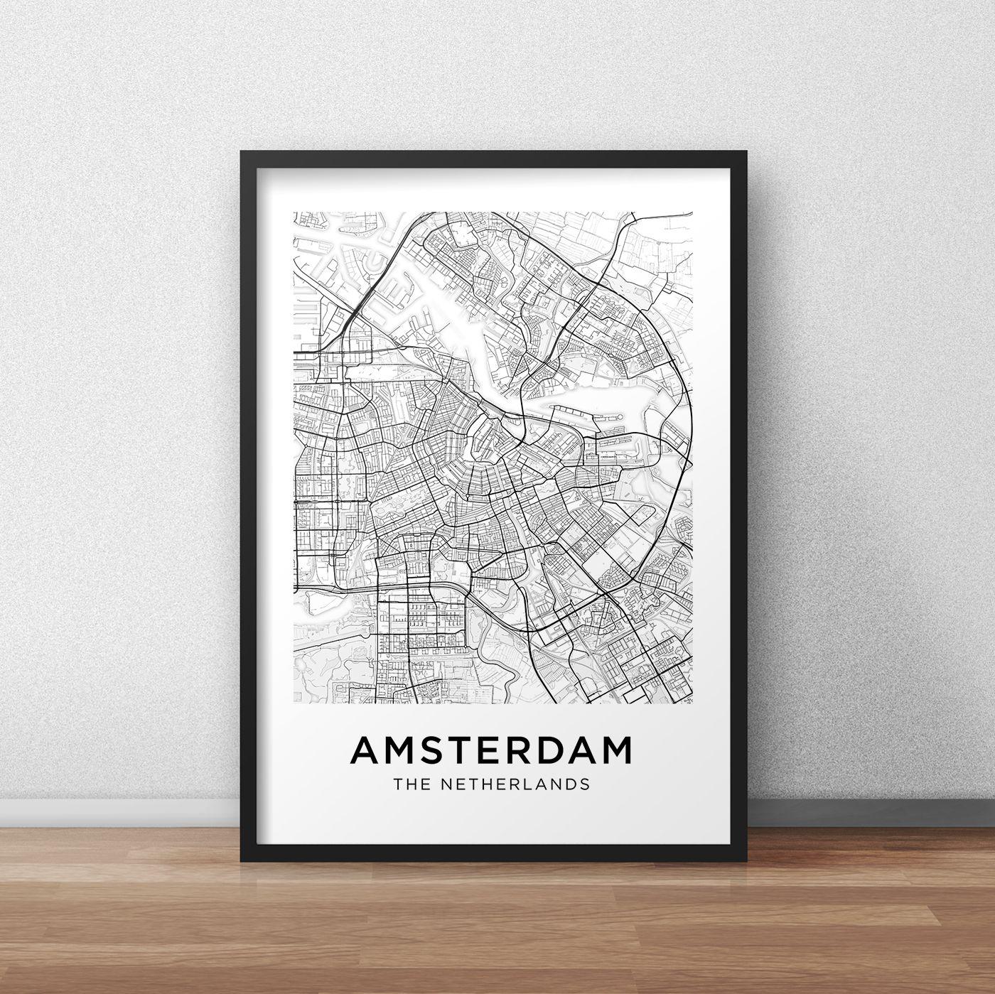 Amsterdam Map Print Printable Amsterdam Map Amsterdam City Map Amsterdam Street Map Amsterdam Poster Wall Art Black And Amsterdam Map Map Print Wall Maps