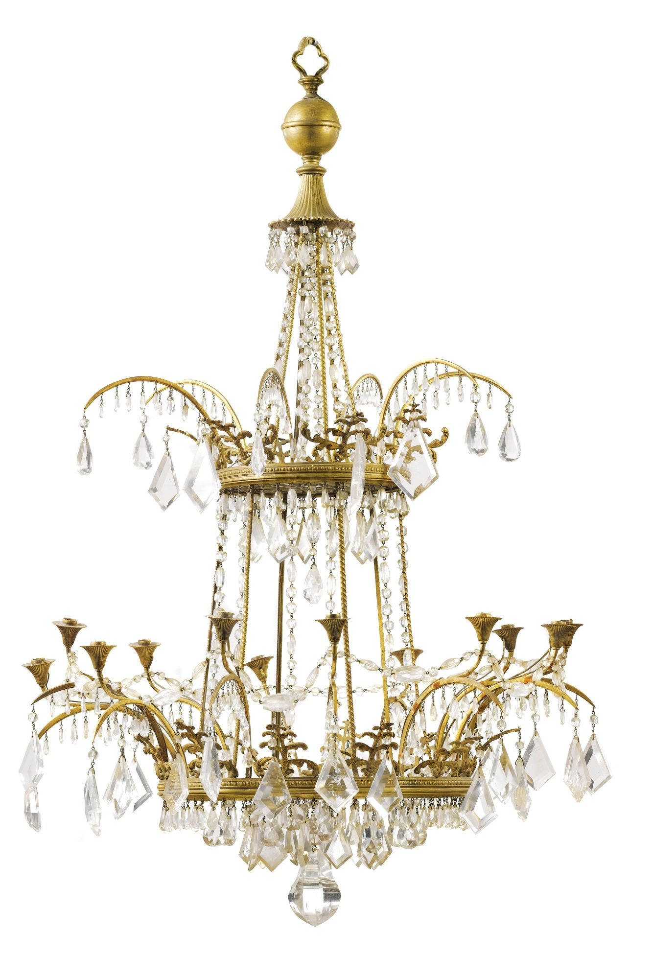 A pair of gilt bronze and rock crystal chandeliers in russian a pair of gilt bronze and rock crystal chandeliers in russian baltic early 19th aloadofball Image collections